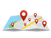 Map with many pin Stock Photo