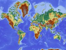 Map, Map Of The World, Relief Map Royalty Free Stock Photo