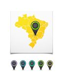 Map with a marker on Brazil Stock Image