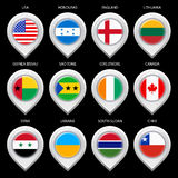 Map marker with flag-set eghth Royalty Free Stock Photography