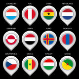 Map marker with flag-set fifth Royalty Free Stock Image