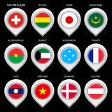 Map marker with flag-set first Royalty Free Stock Photos