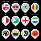 Map marker with flag-set fourth Stock Photos