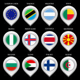 Map marker with flag-set second Stock Photos