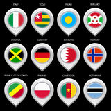 Map marker with flag-set seventh Royalty Free Stock Photos