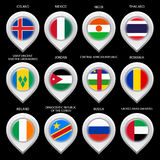 Map marker with flag-set sixth Royalty Free Stock Photos