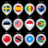 Map marker with flag-set third Royalty Free Stock Photo