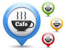 Cafe Icon. Map marker with icon of a cafe, four different colors Royalty Free Stock Images