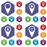 Map marker icon set Royalty Free Stock Images