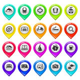 Map marker with icons-set four Royalty Free Stock Image
