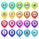 Map marker with icons-set one Royalty Free Stock Photography