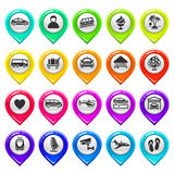 Map marker with icons-set six Royalty Free Stock Images