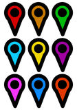 Map marker, map pin icons in more color. Royalty free vector illustration Stock Images