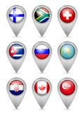 Map marker national flag set. On a white background Stock Image