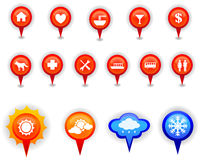 Map marker and pin icons set in isolation Royalty Free Stock Image