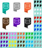 Map marker or pointer, rounded marker mock up in different colors. Ready marker template. For your various icons. Burger icon is shown as an example Stock Photography