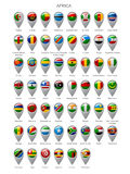 Map marker set with flags of Africa. Map marker set with state flags of sovereign countries of Africa with captions in alphabet order.  There is in addition a Stock Photos