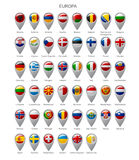 Map marker set with flags of Europa Royalty Free Stock Image