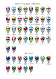 Map marker set with flags of North and South America continents Royalty Free Stock Images