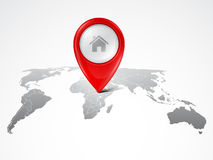 Map marker on the world map Stock Photos