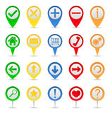 Map Markers. With icons on white background Stock Photography