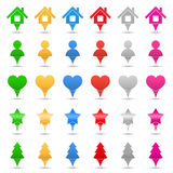 Map Markers. Set of different map markers on white background vector illustration