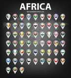Map markers with flags - Africa. Original colors Stock Images