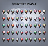 Map markers with flags - Asia. Original colors Stock Photos