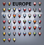 Map markers with flags - Europe. Original colors Royalty Free Stock Photos