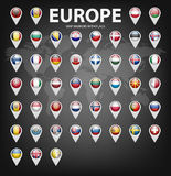 Map markers with flags - Europe. Original colors Stock Image