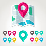 Map markers and flat map icon. S Royalty Free Stock Photo