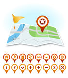 Map with markers and GPS icons Royalty Free Stock Photography