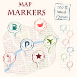 Map markers Stock Photos