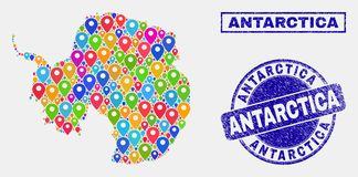 Map Markers Mosaic of Antarctica Continent Map and Scratched Stamp Seals stock illustration