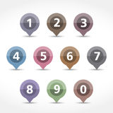 Map Markers with Numbers. Set Stock Photography