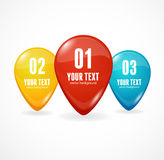 Map markers with numbers and text. White background Vector Illustration