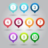 Map markers with numbers vector eps10 illustration royalty free stock photo