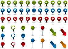 Map Markers, Pins and Pointers. Various colored map markers, pins and pointers Stock Illustration