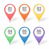 Map markers, pointers icons with blank place for text. Colorful set of symbols for maps, applications, web, tourism Royalty Free Stock Photo