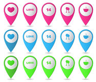 Map markers. Set of bright markers on the map, Valentine's Day. Vector illustration Vector Illustration