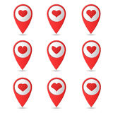 Map markers. Set of bright markers on the map, Valentine's Day. Vector illustration. Flat design Royalty Free Illustration