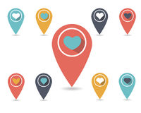 Map markers. Set of bright markers on the map, Valentine's Day. Vector illustration. Flat design Stock Illustration
