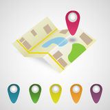 Map and markers set Royalty Free Stock Photography
