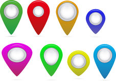 Map Markersblack, blank, blue, bright, color on a white background Royalty Free Stock Photography