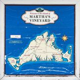 Map of Martha`s Vineyard, Massachusetts. Welcome sign of the island with the ocean in blue and the land in cream colors Stock Image
