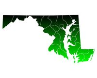 Map of Maryland. Detailed and accurate illustration of map of Maryland Royalty Free Stock Images