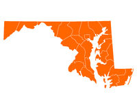 Map of Maryland Stock Photography
