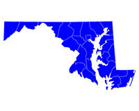 Map of Maryland. Detailed and accurate illustration of map of Maryland Stock Image