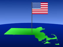 Map of Massachusetts with Flag Stock Photo