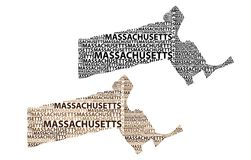 Map of Massachusetts - vector illustration. Sketch Massachusetts United States of America letter text map, Massachusetts map - in the shape of the continent, Map Stock Images